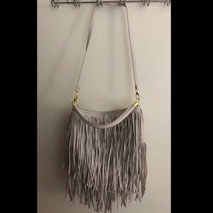 H&M gray fringe purse